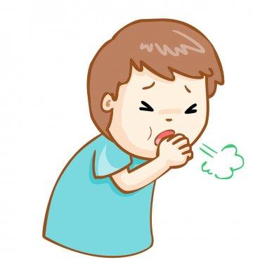 coughing man cartoon vector illustration