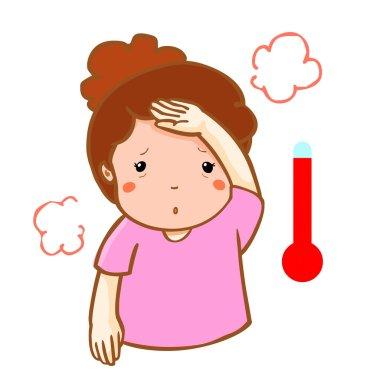 woman got fever high temperature cartoon vector