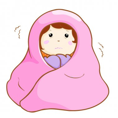 ill woman shivering hard under blanket vector