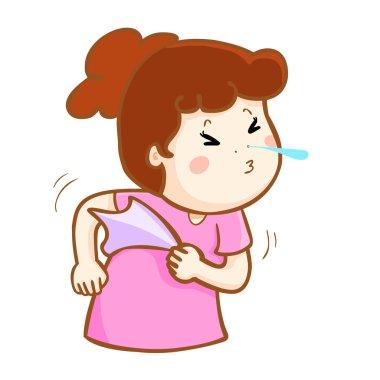 ill woman sneezing cartoon vector