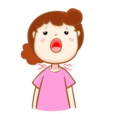 ill woman sore throat cartoon vector
