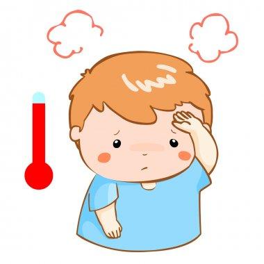 boy got fever high temperature cartoon vector