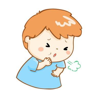 coughing boy cartoon vector illustration