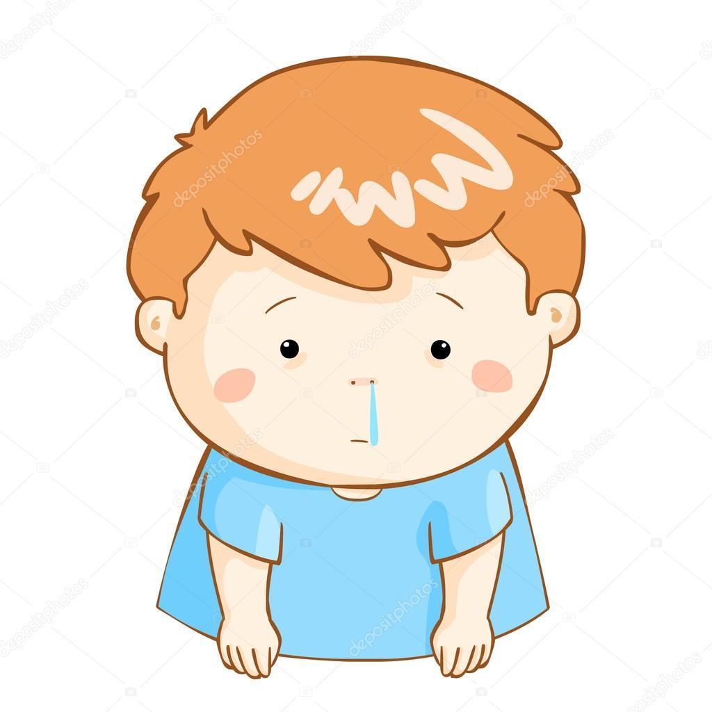 Ill Boy Runny Nose Cartoon Vector Stock Vector C Onontour 89604764
