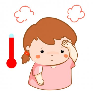 girl got fever high temperature cartoon vector