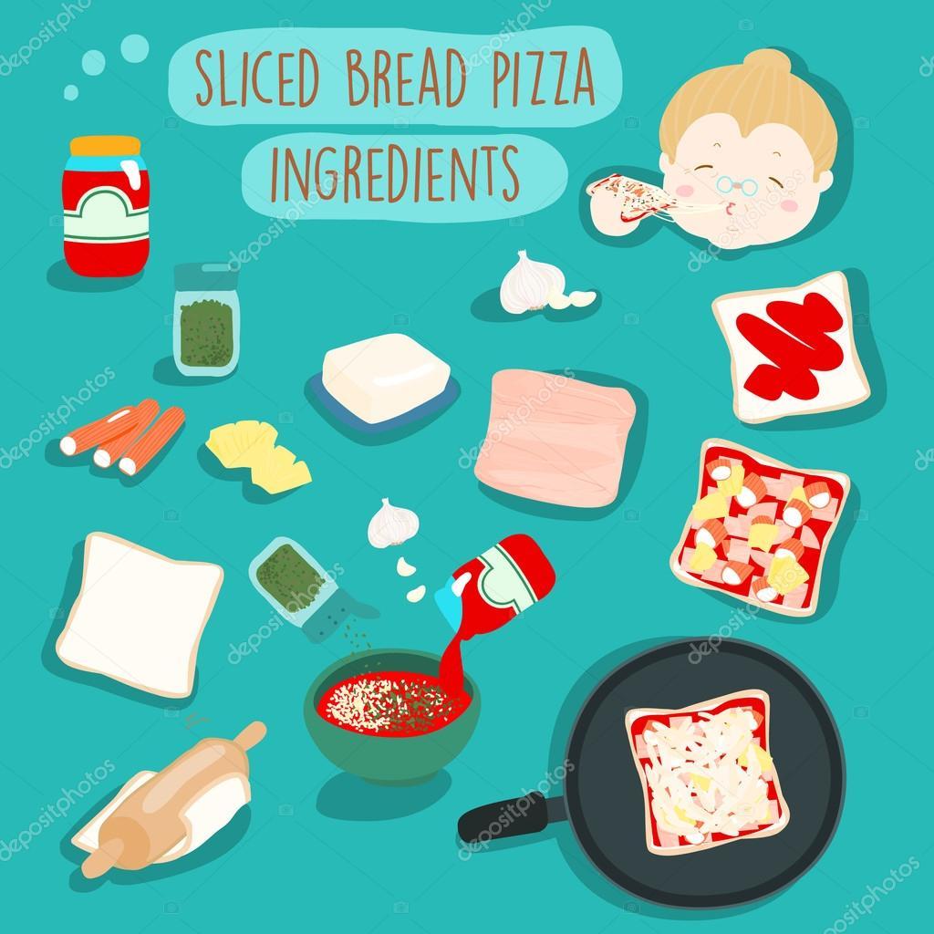 Kolay Dilimlenmiş Ekmek Pizza Fırın Malzemeleri Vektör Illustra