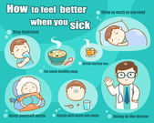 How to feel better when you sick vector