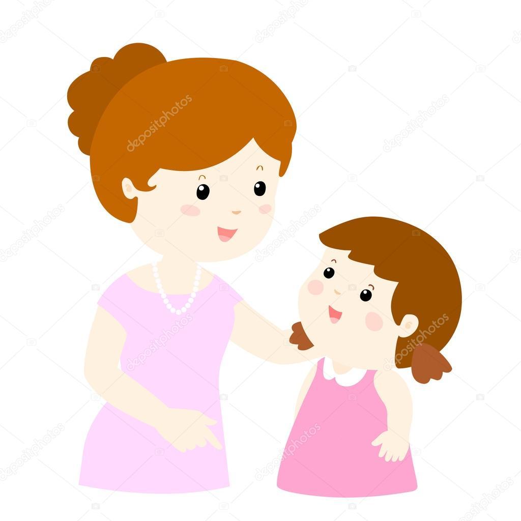 Parler De Maman à Sa Fille Doucement Vecteur De Dessin Animé