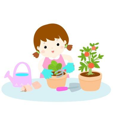 girl planting  healthy organic vegetable cartoon vector