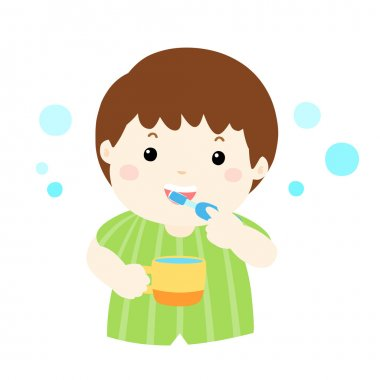 happy boy love brushing teeth vector
