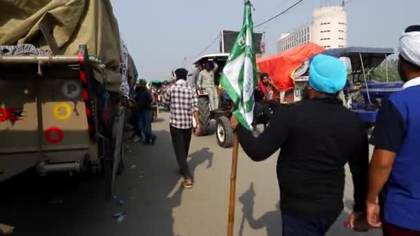 january 2021 delhi,indiafarmers during the protest at singhu border.they are protesting against new farm law by indian government with added noise and grains.