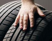 Photo Car service.A  wheel from a car