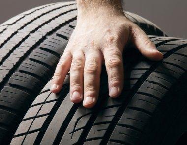 Car service.A  wheel from a car