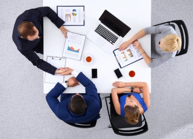 Top view of a team of office workers