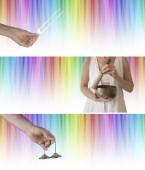 Zvuk a barvy léčení webové stránky bannery x 3