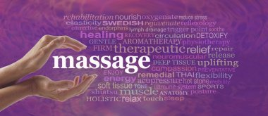 Female hands gently cupped around the word MASSAGE surrounded by a relevant word cloud on a pink purple pattern background stock vector