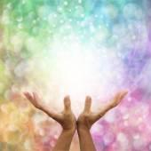 Photo Rainbow healing energy on bokeh background