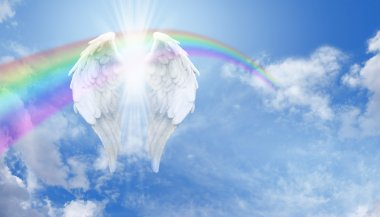 Angel Wings and rainbow on blue sky background