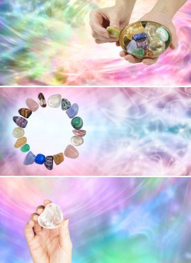 Three different crystal healing banners