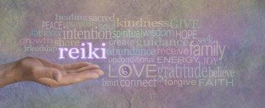 Male Reiki Healer with Healing Word Cloud