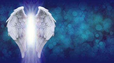 Angel Wings on Blue Bokeh Banner