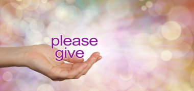 Please give charity campaign banner