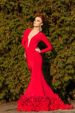 Beautiful elegant girl with beautiful makeup and hair in a red evening dress in the Park