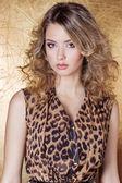 Fotografie Schönes sexy Mädchen in Leopard Kleid in hellen Make-up im Studio auf goldenem Hintergrund