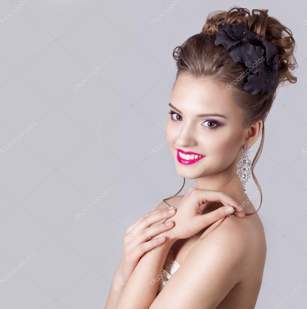 Mode Portrait Einer Schönen Attraktiven Mädchen Mit Einer Sanften