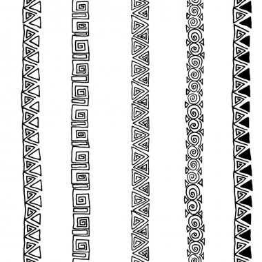 Vector seamless black and white  ethnic pattern