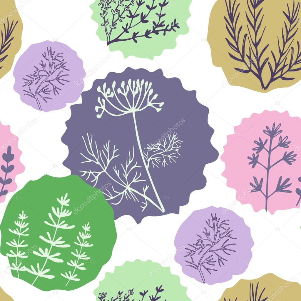 Seamless vintage pattern hand drawn herbs