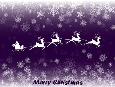 Illustration of Santa in his Christmas sled