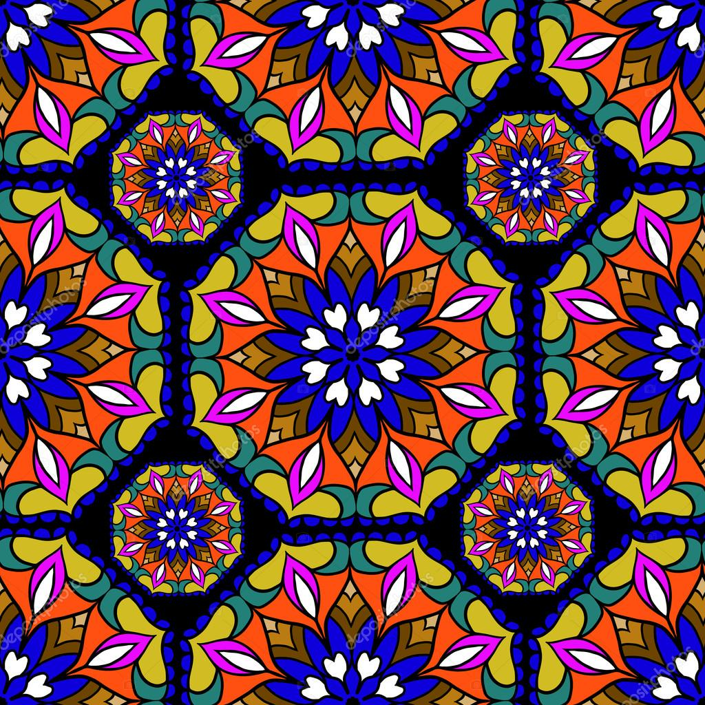Colorful circle flower mandalas