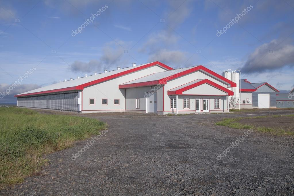 Newly Constructed Modern Dairy Barn Located In Quebec Canada Stock Photo