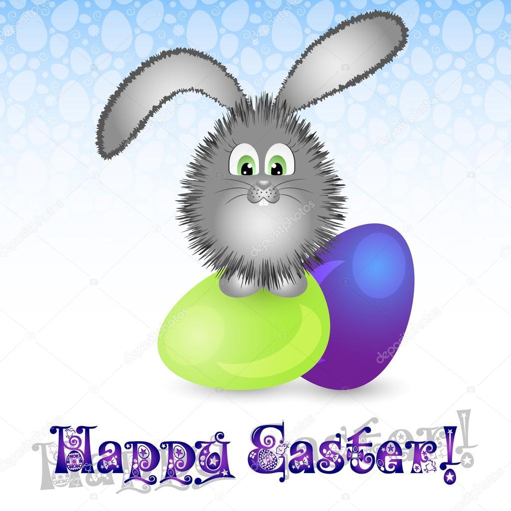 Inne rodzaje Kartka świąteczna na Wielkanoc pisanki i mały Zajączek — Grafika SE81
