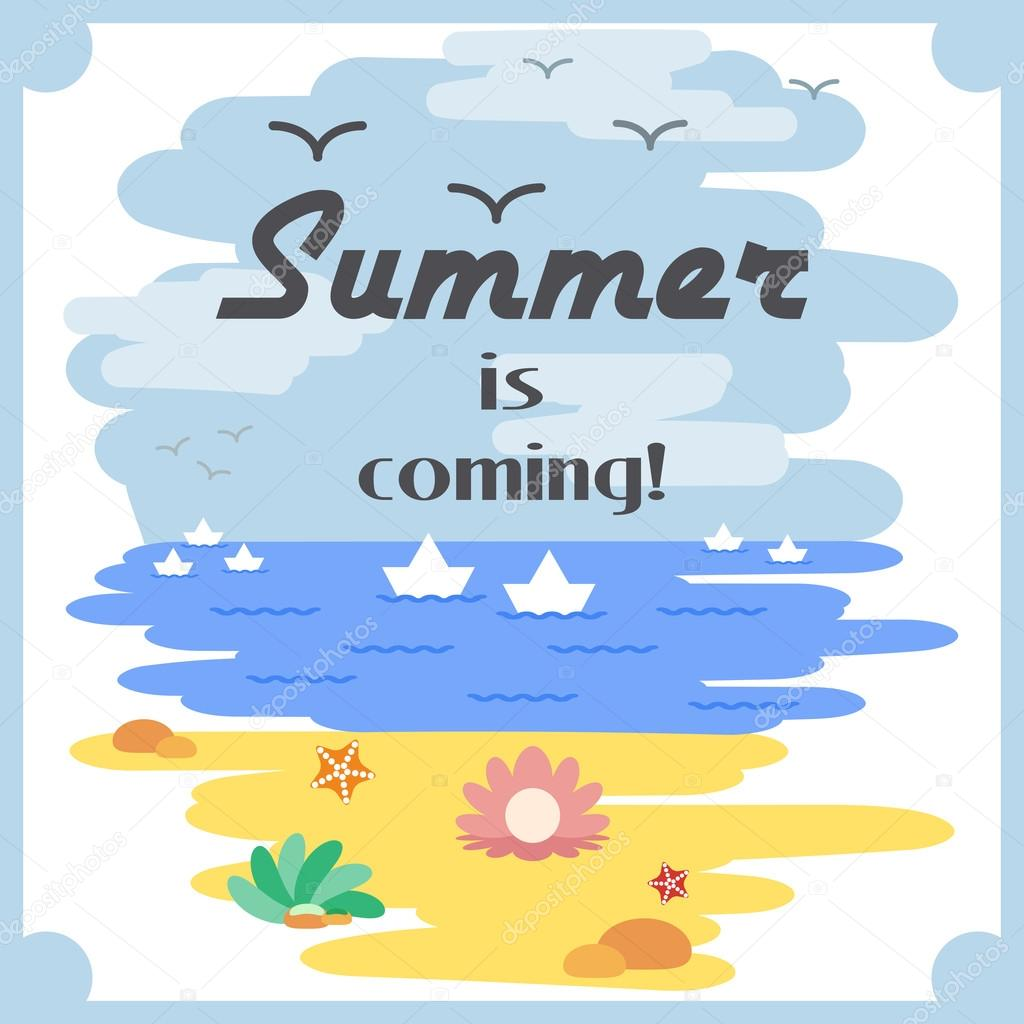 Attractive Summer Is Coming Flat Card With Sky And Clouds, Sea And White Boats, Sandy  Beach And Seashells. Flat Graphic Design. Vector Illustration U2014 Vector By  ...