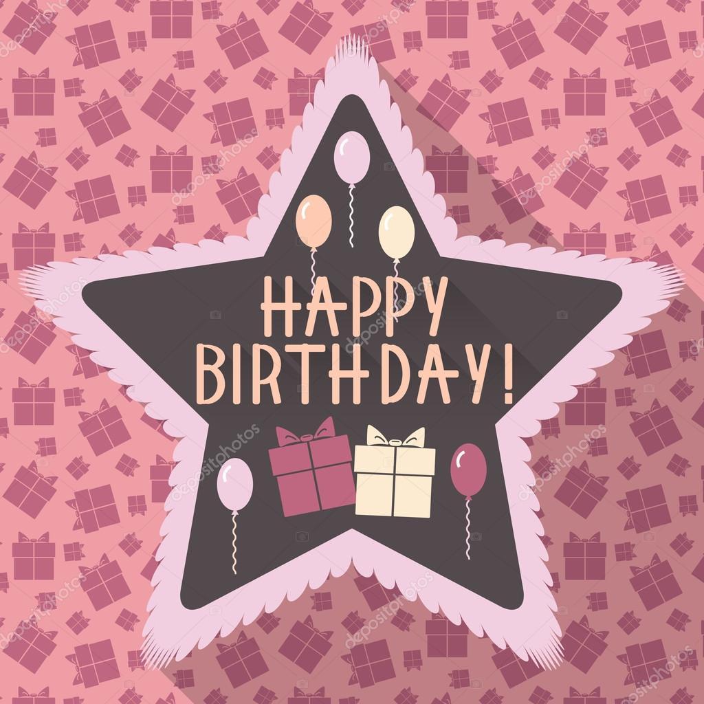 Geburtstagskarte in flache und retro-Farben — Stockvektor © DaneeShe ...