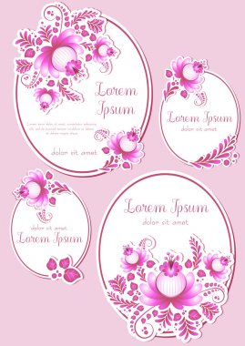 Greeting oval labels with pink floral ornament