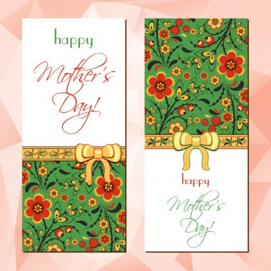 Greeting cards with Hohloma floral ornament