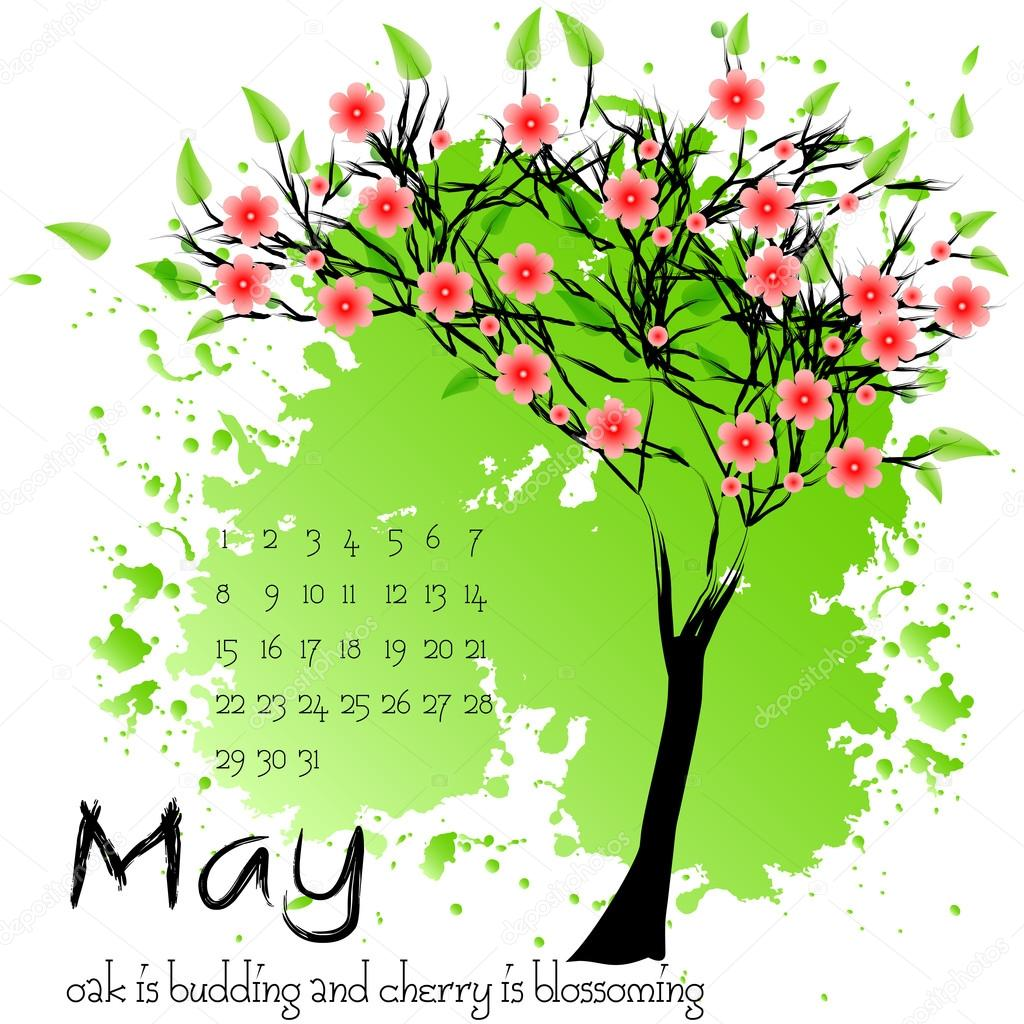 Abstract nature background with spring tree. May