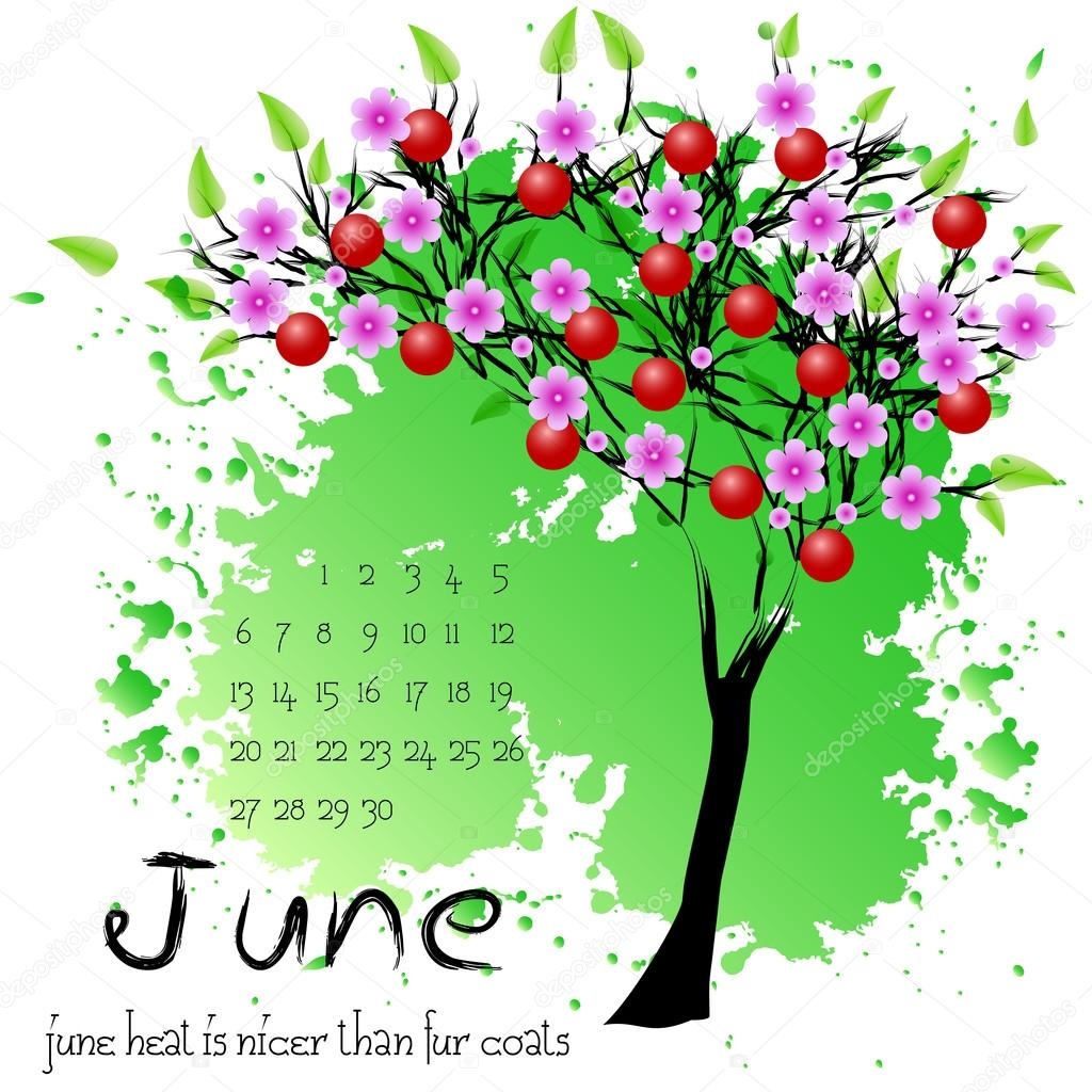 Abstract nature background with summer tree. June