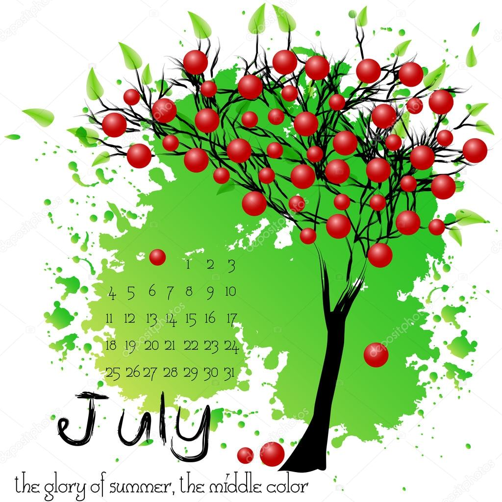 Abstract nature background with summer tree. July