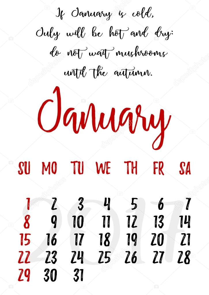 Calendar grid with lettering for 2017. January