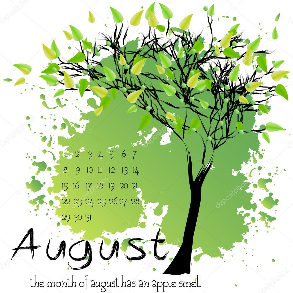 Abstract nature background with summer tree. August