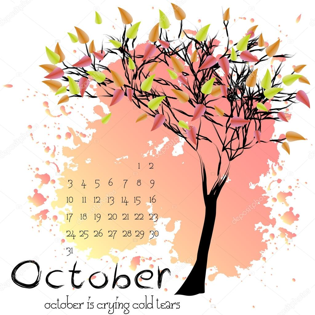 Abstract nature background with autumn tree. October