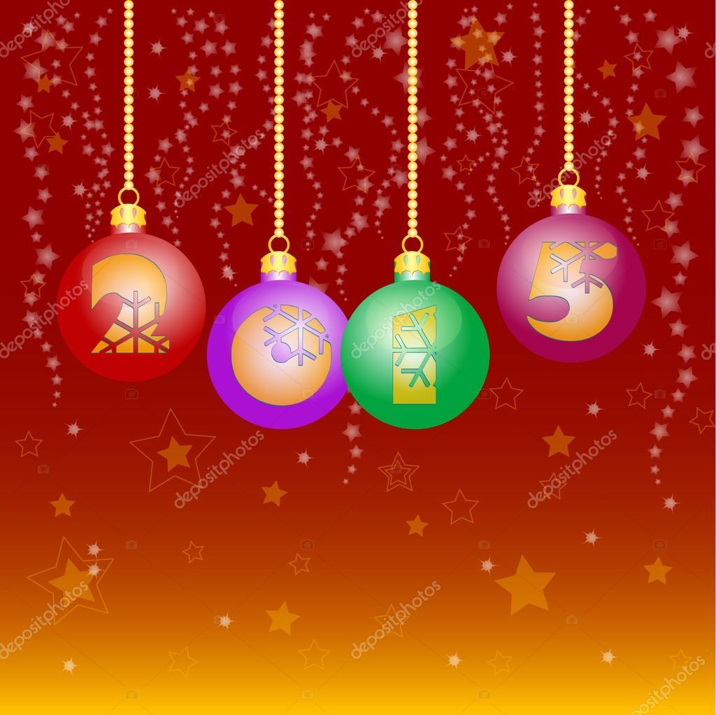 Tarjeta navide a con bolas de saludo feliz a o nuevo y for Bolas de navidad baratas