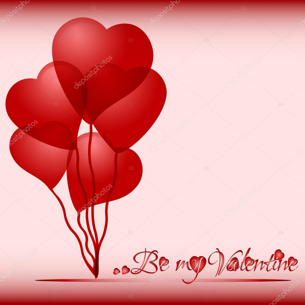 Festive background with heart air balls on Valentine's day. February 14 - day for all lovers