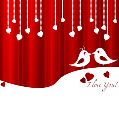Festive card with birds in love for Valentine's day. February 14 - day for all lovers. Vector illustration stock vector