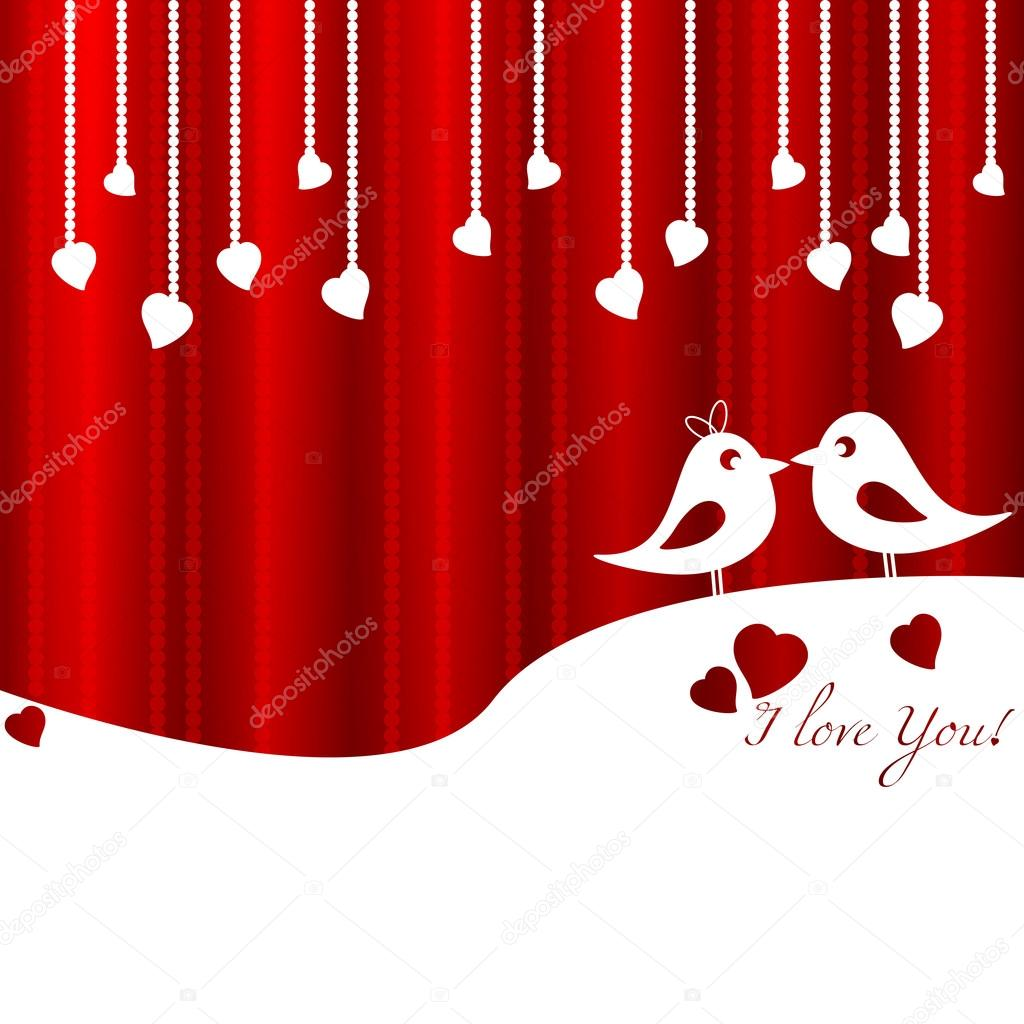 Festive card with birds in love for Valentine's day. February 14 - day for all lovers