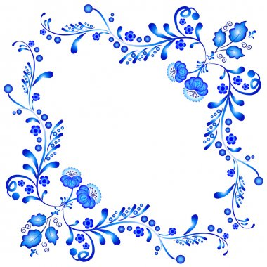Symmetric floral ornament in Gzhel style. Russian folklore